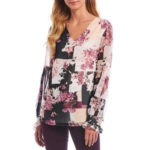 Calvin Klein Pleated Sleeve Floral Print Blouse XS